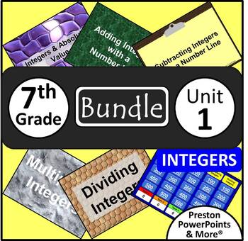 (7th) Integers {Bundle} in a PowerPoint Presentation