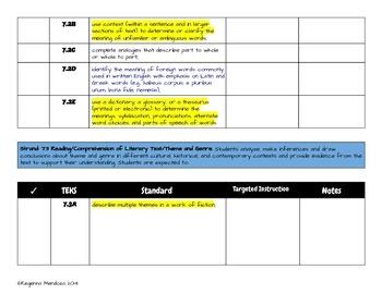 7th grade Reading TEKS Snapshot Checklist