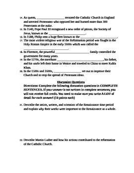 7th grade Renaissance & Reformation Test