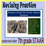 """7th grade Revising Practice , """"Always Good to Know About Snakes"""""""