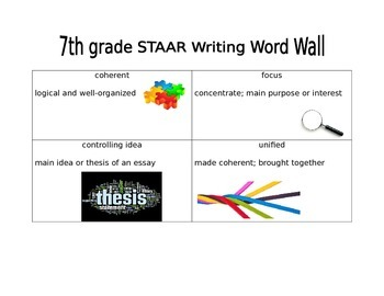 7th grade STAAR Writing Word Wall