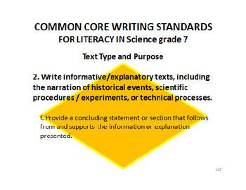 7th grade Science ELA Common Core Standards