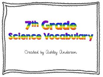 7th grade Science Vocabulary cards