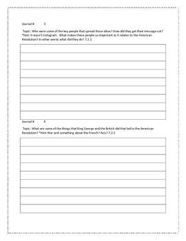 7th grade Social Studies Journal (aligned to Louisiana GLE's)