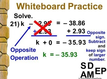 (7th) Solving Equations by Adding or Subtracting in a PowerPoint