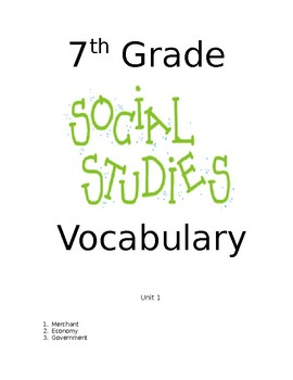 7th grade South Carolina Social Studies Vocabulary