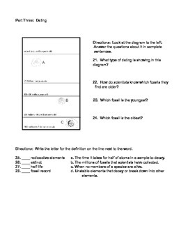 7th grade evolution test - low to below reading level
