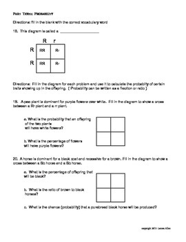 7th grade genetics and heredity unit test - low level