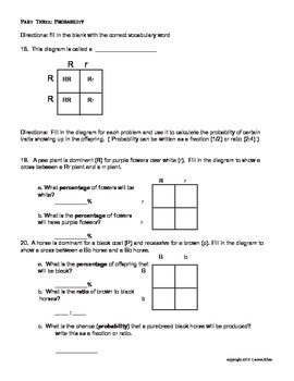 7th grade genetics and heredity unit test - very below level ESL,SPED