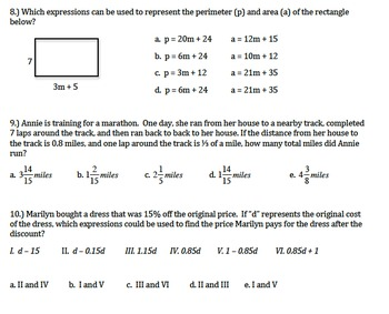 7th grade math Expressions and Equations Exam and Study Guide