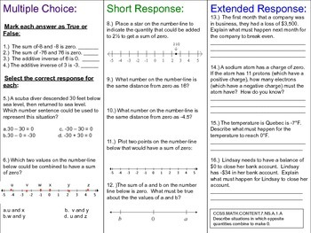 7th grade math Number Systems ~ Multiple Choice, Short & Extended Response