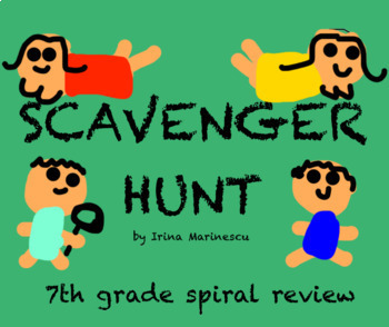 7th grade math Scavenger Hunt spiral review