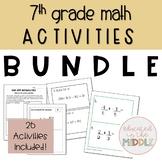 7th grade math activities bundle: swap game and scavenger hunts