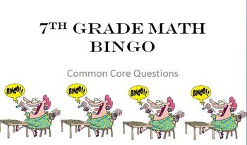It is a graphic of Unusual 7th Grade Math Bingo Printable