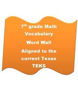 7th grade math Vocabulary Word Wall Texas (new TEKS)