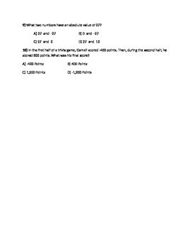 7th grade number sense quiz or test multiple choice