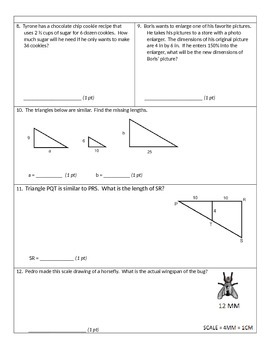 7th grade unit 4 common core pre and post tests