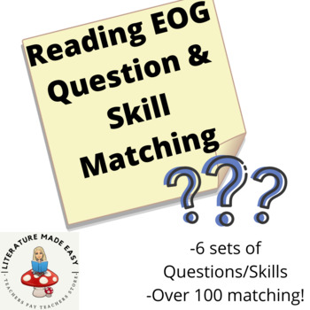 7th or 8th Grade Reading EOG Question and Skill Matching - Common Core