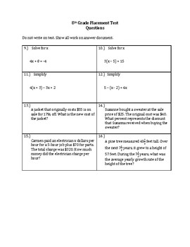 7th to 8th Grade Math Placement Test PDF