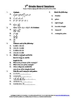 7th Grade Board Session 1,Common Core,Review,Math Counts,Q