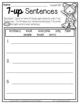 7-up Sentence Writing 1st Grade Sight Words Aligned with HMH Journeys 2011-2017