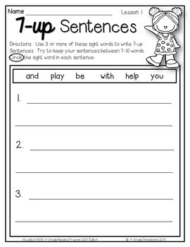 journeys 1st grade 7 up sentence writing w sight words aligned with hmh journeys. Black Bedroom Furniture Sets. Home Design Ideas