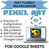 7x Multiplication Pixel Art! Digital Practice for Math Facts with Secret Reveal!