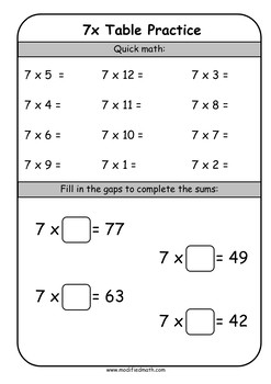 7x Times Table Daily Drills