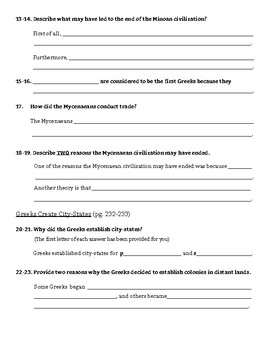 8-1: Geography and Early Greeks Reading Guide (Chapter 8 Section 1)