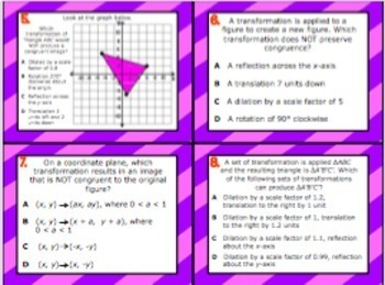 8.10B: Differentiating Transformations STAAR EOC Test Prep Task Cards (GRADE 8)