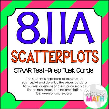 8.11A: Scatterplots STAAR Test-Prep Task Cards! (GRADE 8)