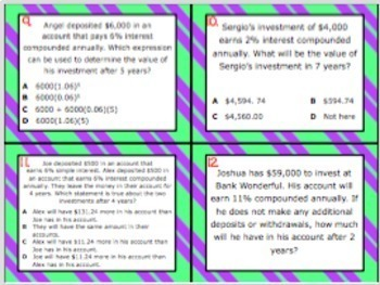 8.12D: Simple & Compound Interest STAAR Test Prep Task Cards (GRADE 8)