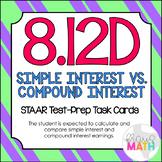 8.12D: Simple & Compound Interest STAAR Test Prep Task Cards (GRADE 8)