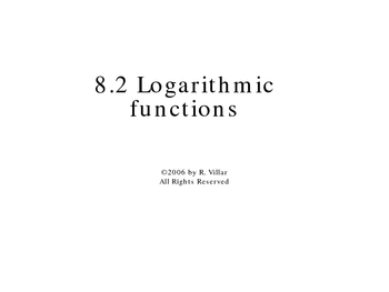 8-2 Logarithmic functions