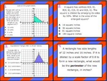 8.3B: Dilations on a Coordinate Plane STAAR EOC Test-Prep Task Cards!