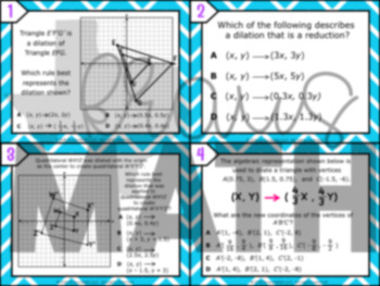 8.3C: Dilations on Coordinate Planes STAAR EOC Test-Prep Task Cards! (GRADE 8)