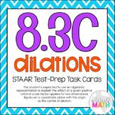 8.3C: Dilations on Coordinate Planes STAAR EOC Test-Prep Task Cards! (GRADE 8)