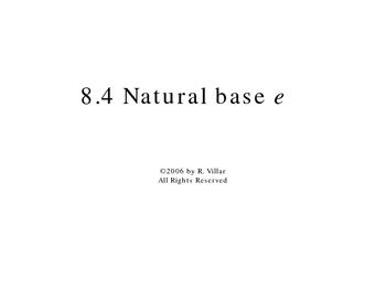8-4 Natural base e