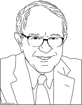 "8.5""x11"" 300ppi Bernie Sanders Clip Art, Coloring Page or Mini Poster"