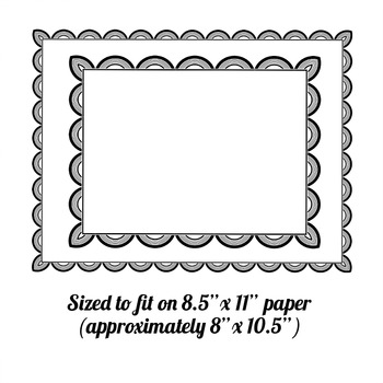 """digital clipart borders/frames, 8.5""""x11"""" black and white .png"""