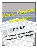8.5A Direct Variation Worksheet