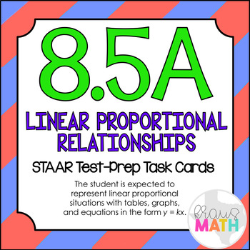 8.5A: Representing Linear Proportional Situations STAAR EOC Test Prep Task Cards