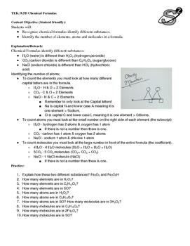 8.5D Chemical Formulas Practice