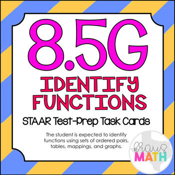 8.5G: Identifying Functions STAAR Test Prep Task Cards (GRADE 8)