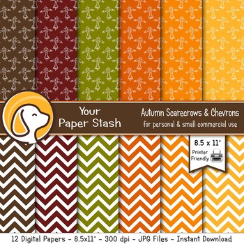 8.5x11 Autumn Scarecrow and Chevron Digital Papers for Thanksgiving & Halloween