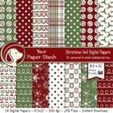 8.5x11 Christmas Owl Digital Scrapbook Papers / Holiday Ba