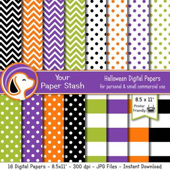 Halloween Polka Dot Orange Black Scrapbook Papers 4 Sheets