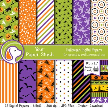 image regarding Printable Halloween Paper called 8.5x11 Printable Halloween Electronic Sbook Papers w/ Pumpkins and Bats