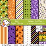 8.5x11 Printable Halloween Digital Scrapbook Papers w/ Pum