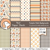 """8.5x11"""" Printable Pumpkin Digital Papers and Backgrounds I"""